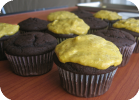 chocolate cupcakes with banana cream cheese frosting