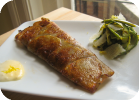 potato wrapped cod with lemon aioli and grilled asparagus and zucchini salad