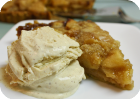 caramel apple tart with cinnamon ice cream